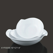 Factory direct price ceramic dinnerware white modern unique salad bowl for wedding