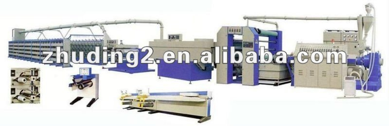 Microcomputer control PP/PE Plastic flat yarn extrusion line, pp woven bag/cement bag production line