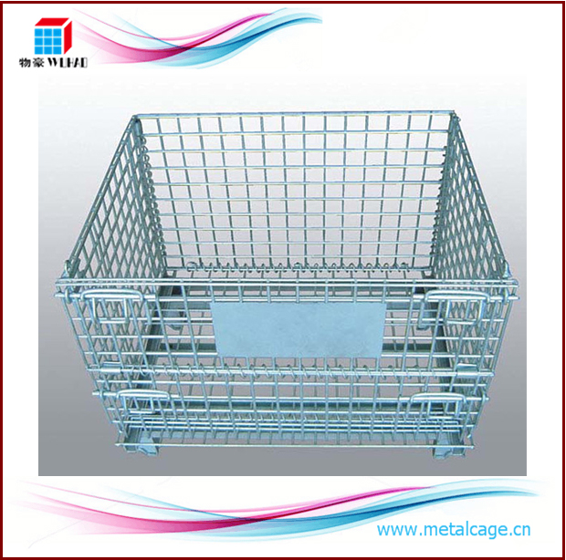 Collapsible trolley roll cage containers Foldable Storage Metal Pallet Cage metal storage box