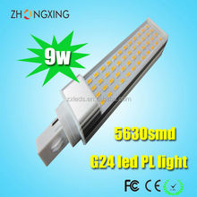 Aluminum LED Light Housing G24D-2 LED PL Lights 9W 4000K LED Lamp SMD Epistar Chip CE RoHS Listed