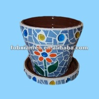 Custom designs small ceramic mosaic planter with tray