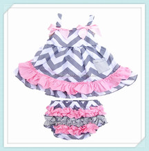 Wholesale Various Baby Clothes Toddler Swing Top Ruffle Bloomer 2 piece Summer Kids Clothing Sets Soft Cotton Knit Clothes Set