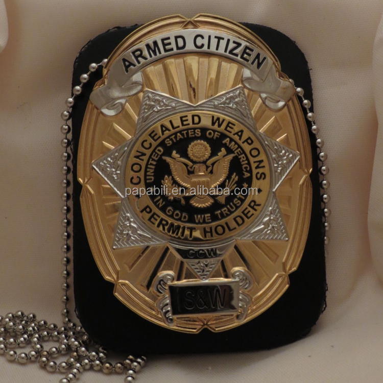 Gold & Silver Concealed Weapons Permit Holder Badge
