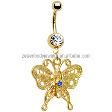 Sexy cheap wholesale clear crystal butterfly shape gold titanium chain dangle belly ring navel piercing body jewelry