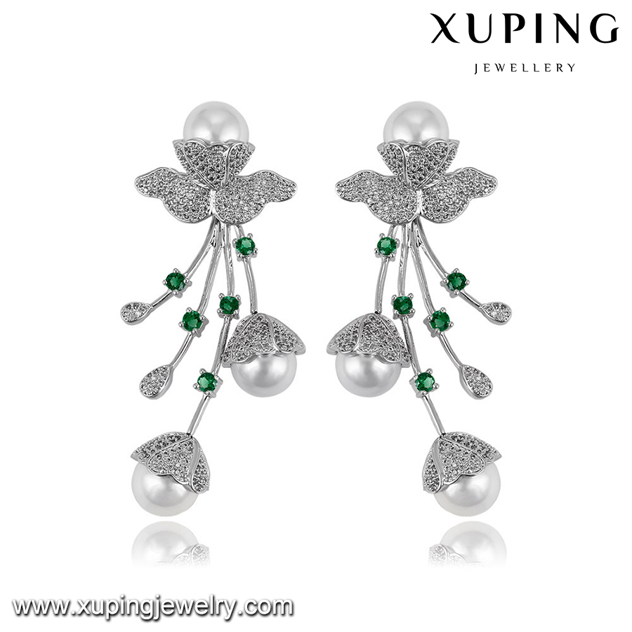E-406 XUPING luxury pearl earring with ball,khazana earring designs,jhumka earring designs