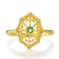 Fashionable Fine Jewelry Natural Gemstone Green Emerald 925 Sterling Silver 14k Yellow Gold Adjustable Ring S925 For Women RI050