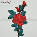 Rose flower China custom embroidery patch for clothes WEF-558