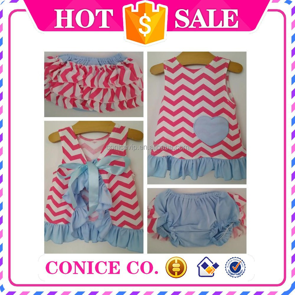 2015newborn baby girls 2-piece sleeveless wave stripe swing top & bloomer clothes outfits wholesale cheap boutique clothing sets