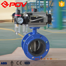 Ductile iron 5 inch DN125 flange pneumatic butterfly valve