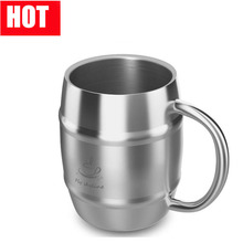 Wholesale Insulated Beer Drinking Double Wall Stainless Steel Cup,Stainless Steel Double Walled German Beer Stein with Handle