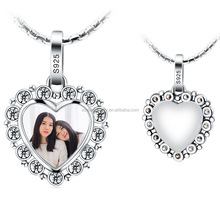 Photo Locket Necklace CZ Diamond Setting Hollow Heart Glass Locket Pendant in 925 Sterling Silver