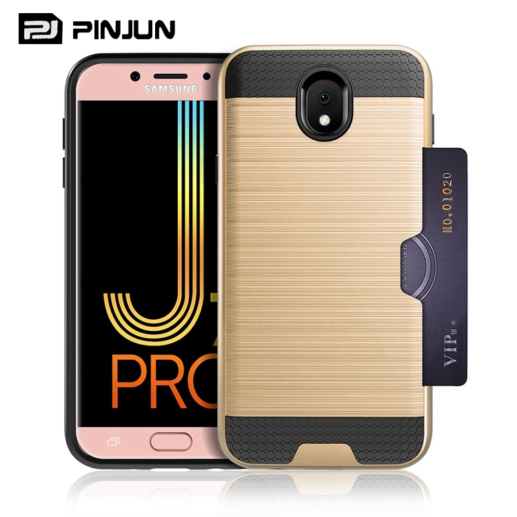 wholesale mobile phone accessories brushed card slot mobile phone case for samsung galaxy j7 pro back cover