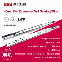 46mm Ball Bearing Telescopic Slide Rail Kitchen Cabinet Drawer Slide