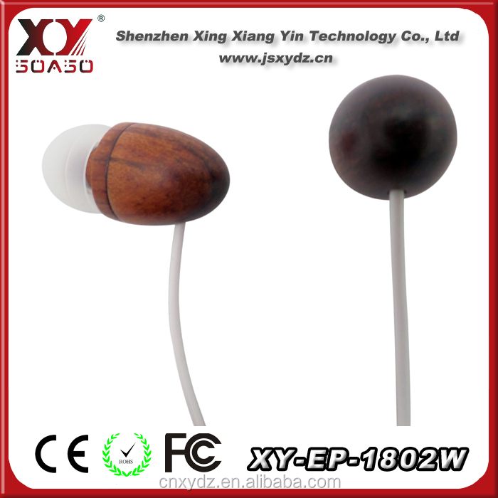 Wood earphone headphone with mic and control talk for iphone 4 4s 4g 3gs cell phone earbud headset