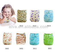 Baby Printed Pocket Bamboo Organic Cloth Diapers with adjustable snaps