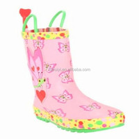 cheap antiskid girls waterproof cute rubber rain boots with rain handler