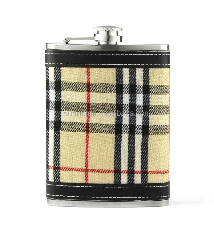 wholesale hip flasks brand names of white wines with whelk pot leather wrapped
