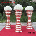 2018 rose gold mirror fiber glass vase wedding pillar walkway stand wedding decoration party column wedding column (MS-119)