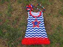 2015 hot sell baby girl july 4th chervon A Line dress with matching bow and necklace