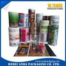 Aluminum foil food packaging film/plastic printed laminated packing film roll for snack/cookie packaging