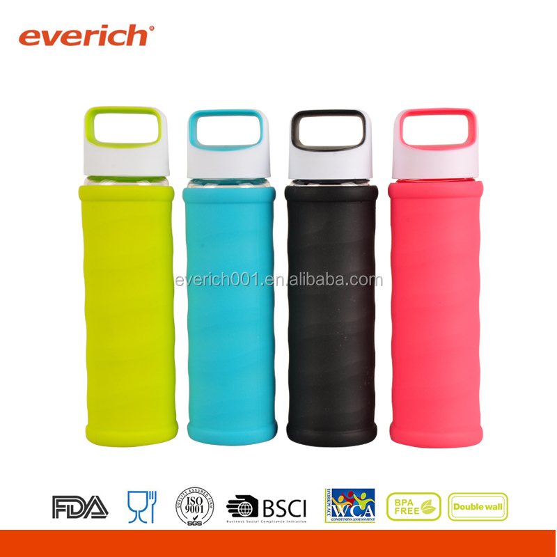 550ml High-grade Borosilicate Glass Water Bottle With Silicone sleeve
