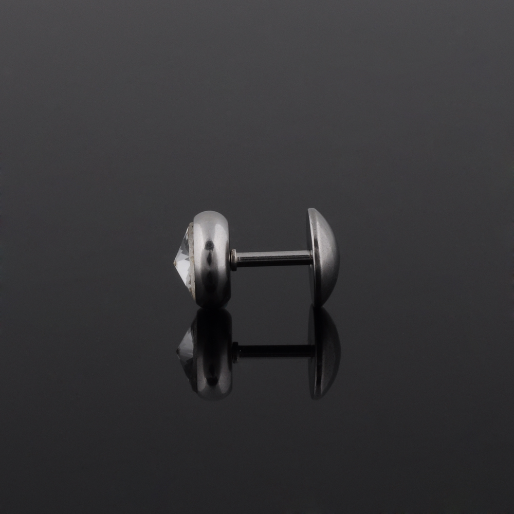 Hot selling stainless steel body jewelry 6mm fake ear plugs diamond for sale