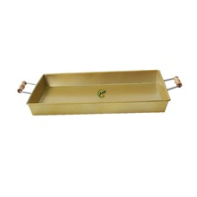High Quality Metal Power Coated Copper Tray with wooden handle