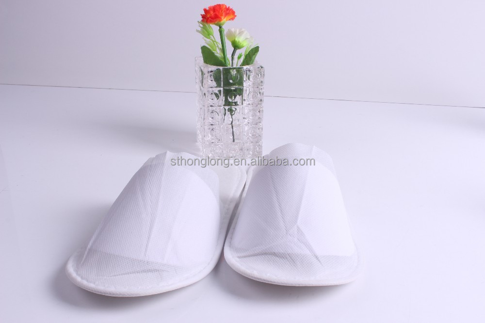 very cheap white simple disposable hotel slippers for 3 star hotel