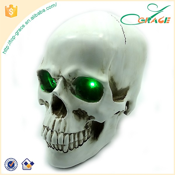 Day Of The Dead souvenir resin skull head with light up eyes resin skull