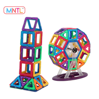MNTL Glowing Magnetic Toys Building Tiles Blocks Educational Toy with Cards for Kids DIY , Car Set , Ferris Wheel Set-120 Pieces