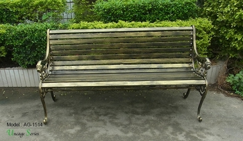 Triumph Vintage style metal outdoor bench / Public waiting and rest long chairs / decorative metal benches