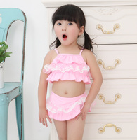 2016 beautiful Pink two pieces Tankinis swimsuits baby girl swimwear SW250
