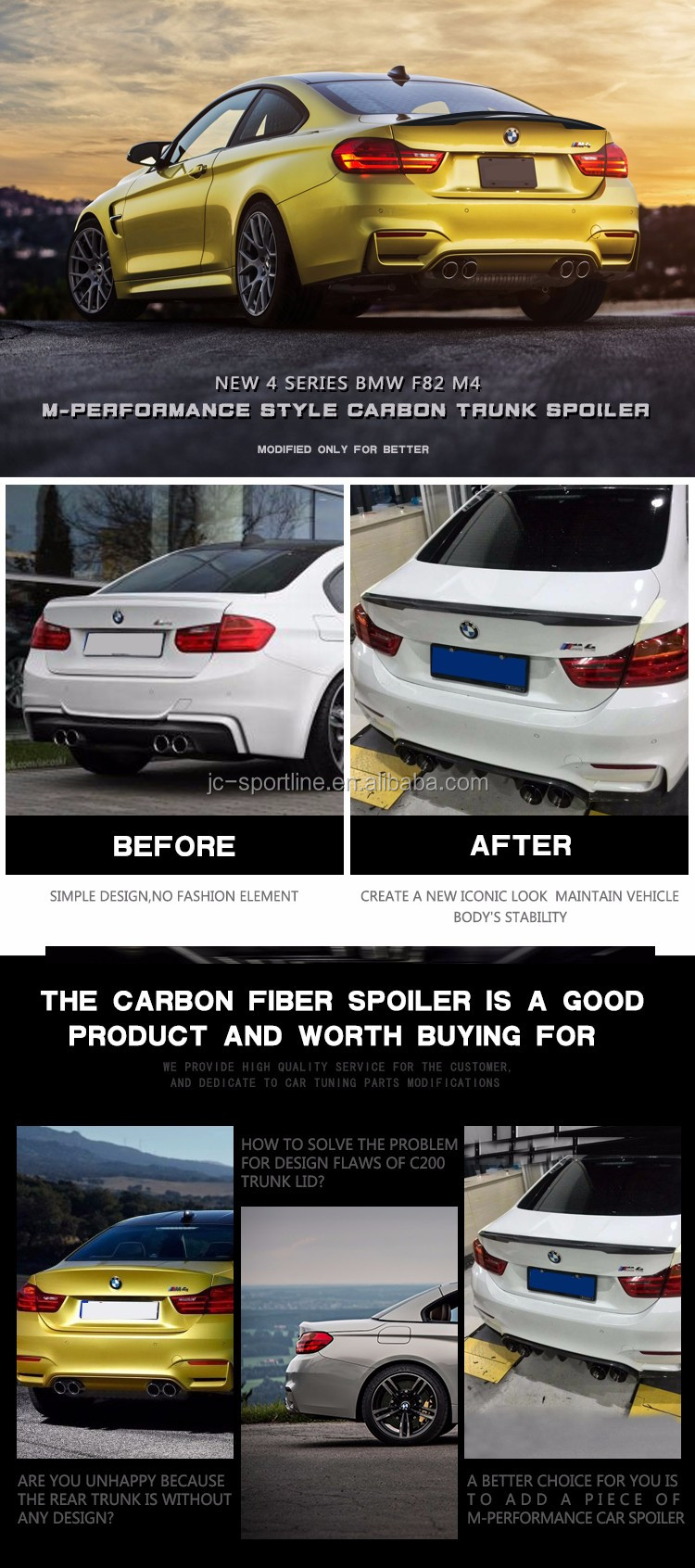 Auto Carbon Fiber Car Rear Wing Spoiler for BMW F82 M4 P Style