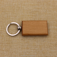 Custom cheap blank wooden key chain square keyring manufacture