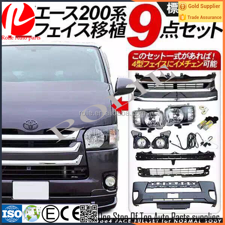 Toyota hiace KDH 200 2014-2016 front face full bumper grill headlight fog lamp set black chrome accessories body parts kit