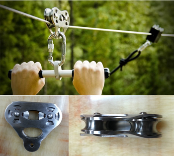 CTSC Heavy Duty Zip Line Cable Trolley Pulley is with a handlebar and dual ball-bearing wheels Fun, Exciting and Challenging