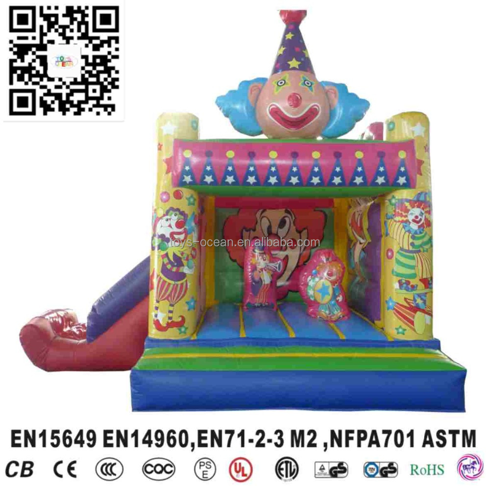 Commercial inflatable cute cartoon toys jumping bouncer slide for kids, inflatable clown obstacle slide bouner