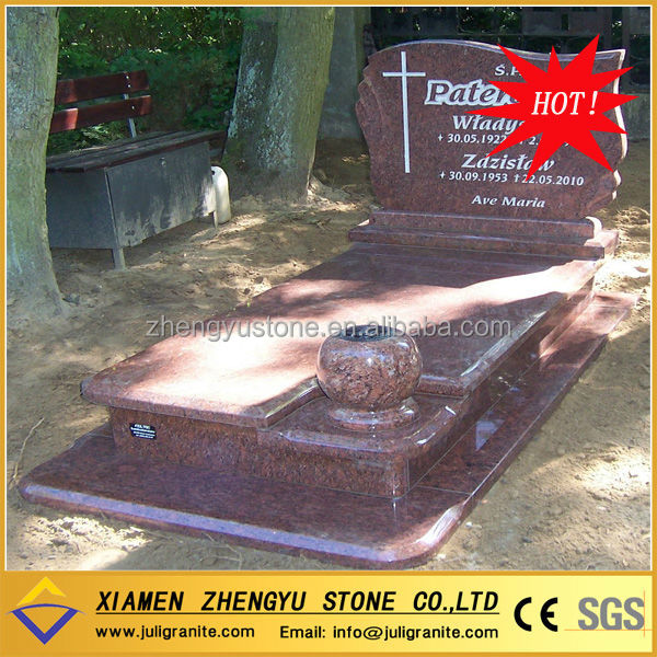Red Granite Poland Style Children Headstone