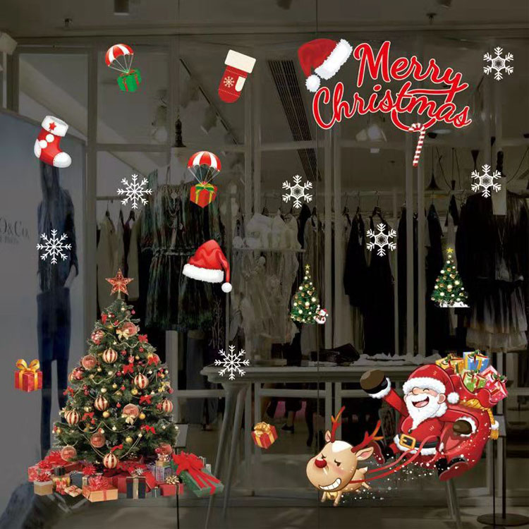 50*70cm christmas windows glue free self stick anti-satic PVC water proof stickers for holiday decoration