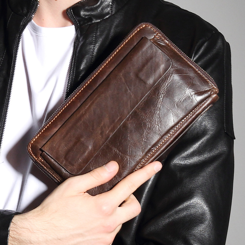 Wholesale popular vintage leather long card holder purse men's hand casual <strong>wallet</strong>