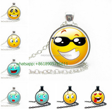 2016 Womens Glass Cabochon <strong>Necklace</strong> Vintage Crescent Hollow Funny Emoji Pendant <strong>Necklace</strong>
