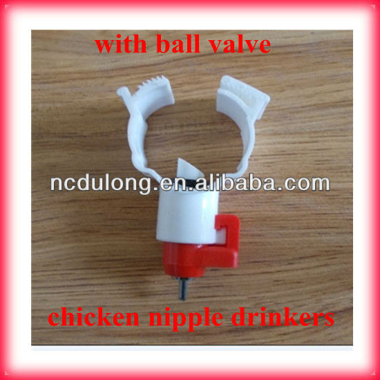 Hot sale chicken nipple watering system with ball valve