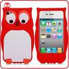 New Wholesale Fancy 3D Owl Design Animal Silicone Case for iphone 4 4s