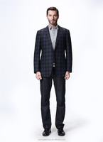 SAINT VERAN 2016 New arrival black blue plaids high-end custom men's wool coat