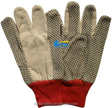 Red Knit Wrist Cotton Canvas With Black PVC Dots Cotton Glove, Work Glove