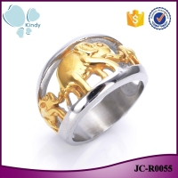2016 Fashion jewelry 316l stainless steel vintage gold elephant finger ring