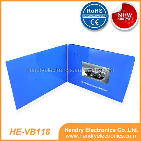 High Quality Creative Design 7inch LCD video book video brochure, with 2G memory, A4 size