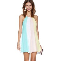 WA1275 women's loose dress rainbow stripe backless cross straps chiffon dress