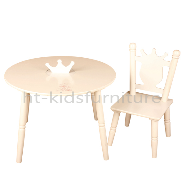 60x60x(H)42cm E1 MDF And Pinewood White Wood Children Table And Chair, Hot Sale Children Round Table