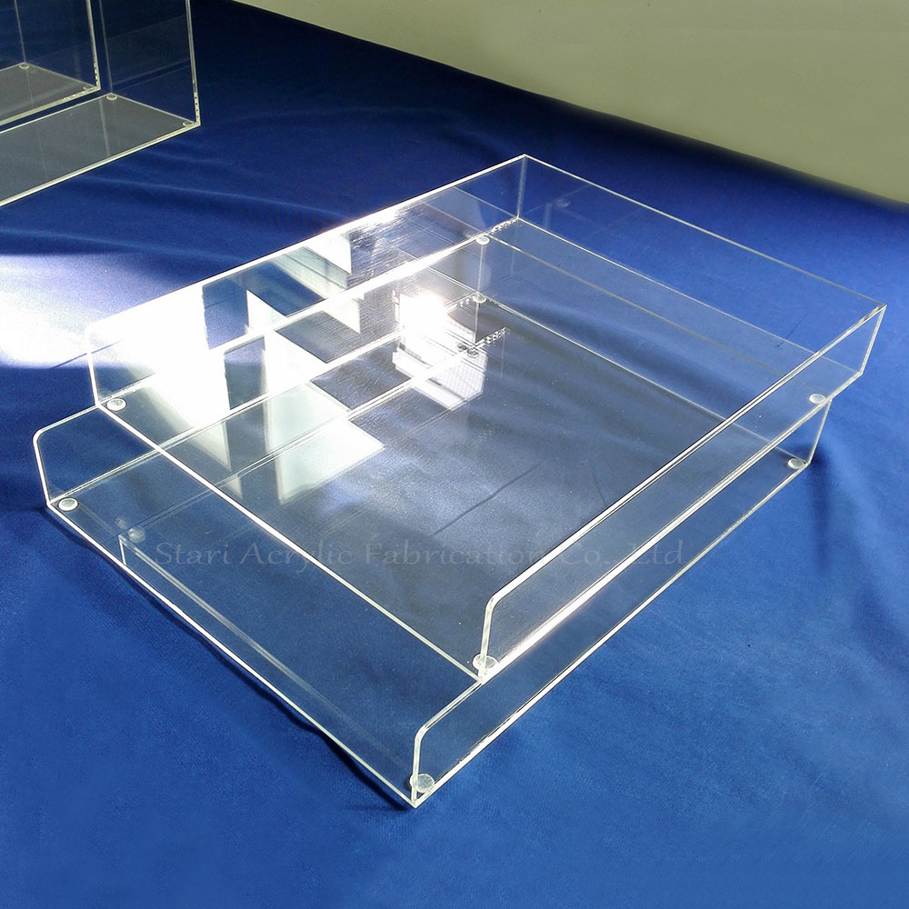 Custom Clear Acrylic Double Letter Tray, Plexiglass Office File Stacking Tray